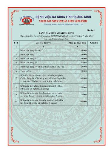 Chi phí khám và chữa bệnh tại bệnh viện Đa khoa tỉnh Quảng Ninh